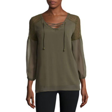 jcpenney.com | Alyx® 3/4-Sleeve Shoulder-Lace Woven Top