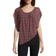 Alyx® Short-Sleeve Asymmetrical Knit Popover Top