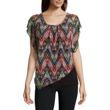jcpenney.com | Alyx® Short-Sleeve Asymmetrical Knit Popover Top