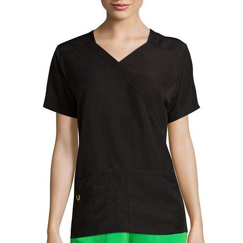 WonderWink® Womens Short-Sleeve Mock-Wrap Knit Panel Top - Plus
