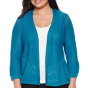 Worthington® 3/4-Sleeve Open Cardigan - Plus