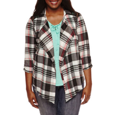 jcpenney.com | Self Esteem® Long-Sleeve Plaid Layered Shacket - Plus
