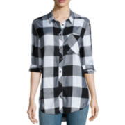 Arizona Roll-Sleeve Boyfriend Plaid Shirt