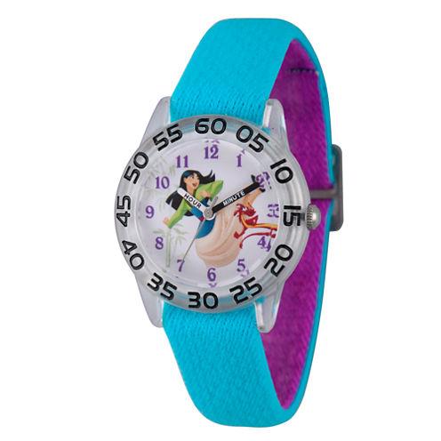 Disney Princess Mulan Girls Blue Strap Watch-Wds000198