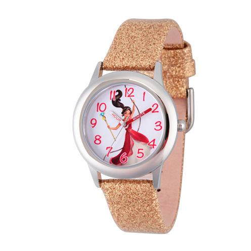 Disney Elena of Avalor Girls Gold Tone Strap Watch-Wds000281