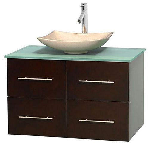 Centra 36 inch Single Bathroom Vanity; Green GlassCountertop; Arista Ivory Marble Sink; and No Mirror