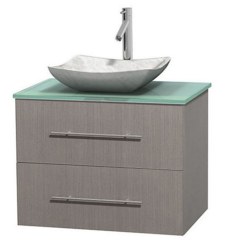 Centra 30 inch Single Bathroom Vanity; Green GlassCountertop; Avalon White Carrera Marble Sink; andNo Mirror