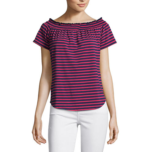 Liz Claiborne Short Sleeve Stripe T-Shirt-Womens