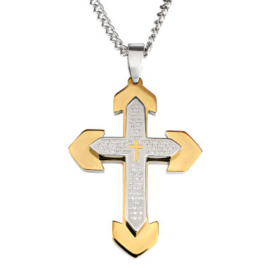 jcpenney.com | Mens Lord's Prayer Stainless Steel Cross Pendant Necklace