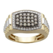 Mens 1 CT. T.W. White & Champagne Diamond Ring