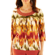 Alfred Dunner® Birds Of Paradise Watercolor Zigzag Print Top - Petite