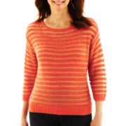 Lark Lane® Striped Open-Stitched Metallic Sweater with Cami