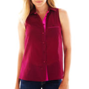 jcp™ Sleeveless Pocket Shirt