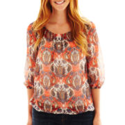 Liz Claiborne 3/4-Sleeve Peasant Top with Cami