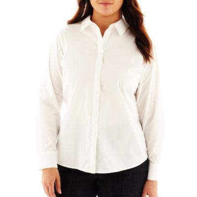 Liz Claiborne® Long-Sleeve Button-Front Shirt - Plus