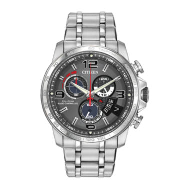 jcpenney.com | Citizen® Eco-Drive® Chrono-Time A-T Mens Silver-Tone Watch BY0100-51H