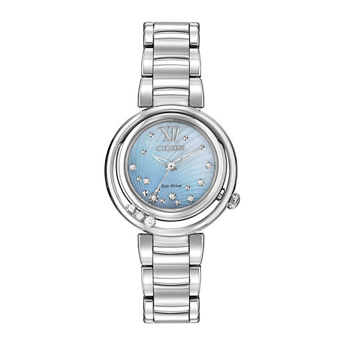 Citizen® Eco-Drive® Sunrise Womens Silver-Tone Diamond-Accent Bracelet Watch