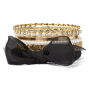 Decree® 6-pc. Simulated Pearl and Black Bow Bangle Set