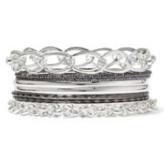 Decree® 8-pc. Silver-Tone Hematite Bangle Set