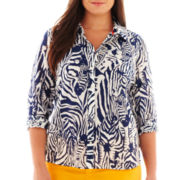 jcp™ Long-Sleeve Silk-Blend Shirt - Plus