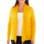 jcp™ Long-Sleeve Flyaway Cardigan Sweater - Plus