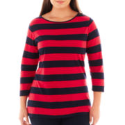 jcp™ 3/4-Sleeve Zip-Shoulder Boatneck Tee - Plus