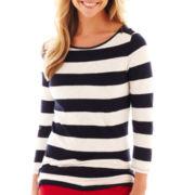 jcp™ 3/4-Sleeve Zip-Shoulder Boatneck Tee