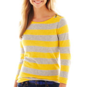 jcp™ 3/4-Sleeve Zip-Shoulder Boatneck Tee - Petite