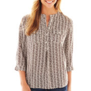jcp™ 3/4-Sleeve Button-Front Print Peasant Top