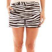 jcp™ Zebra Print Twill Shorts