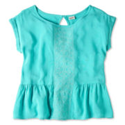 Arizona Embroidered Woven Short-Sleeve Top - Girls 6-16