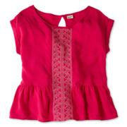 Arizona Embroidered Woven Short-Sleeve Top - Girls 6-16
