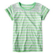 Arizona Sequin & Striped Short-Sleeve Tee - Girls Plus