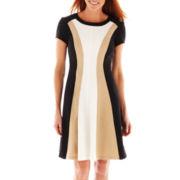 Studio 1® Cap-Sleeve Colorblock Dress