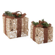 Snowy Day Set of 2 Box Tabletop Decor