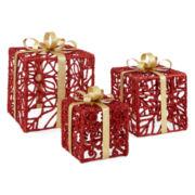 Peppermint Twist 3-pc. Glitter Gift Tabletop Decor