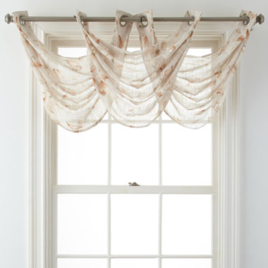 jcpenney.com | JCPenney Home™ Arbor Leaf Grommet-Top Sheer Waterfall Valance