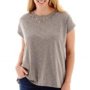 Stylus™ Short-Sleeve Embellished Novelty T-Shirt - Plus