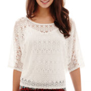 Bisou Bisou® 3/4-Sleeve Crochet Top