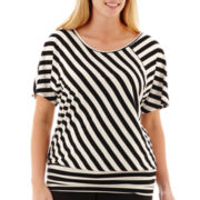 Alyx® Short Dolman-Sleeve Striped Knit Top - Plus