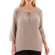 Alyx® 3/4-Sleeve Lace-Trim Gauze Peasant Top with Cami - Plus