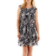 Robbie Bee® Cap-Sleeve Belted Blouson Dress - Petite
