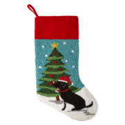 North Pole Trading Co. Dog and Christmas Tree Stocking