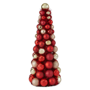 "jcpenney.com | North Pole Trading Co. 18"" Red and Gold Ornament Tree"