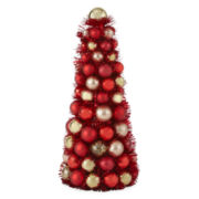"North Pole Trading Co. 12"" Red and Gold Ornament Tree"