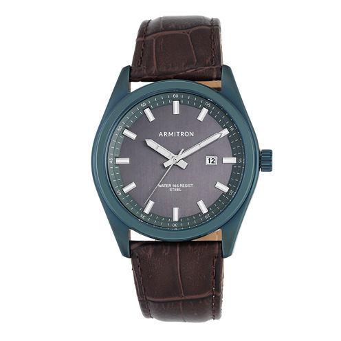Armitron® Mens Navy and Brown Strap Watch