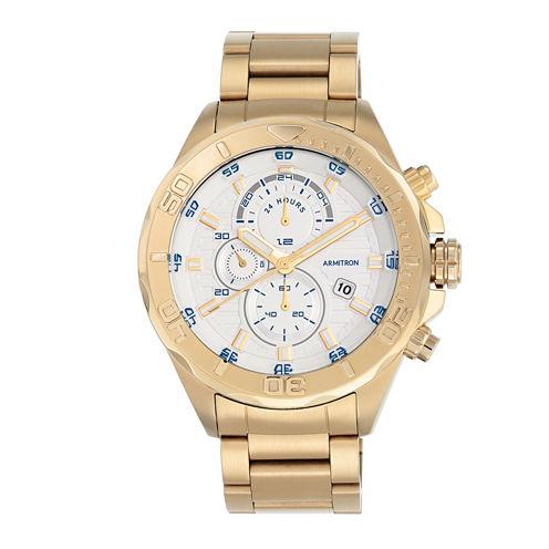 Armitron® Mens White and Gold-Tone Bracelet Watch