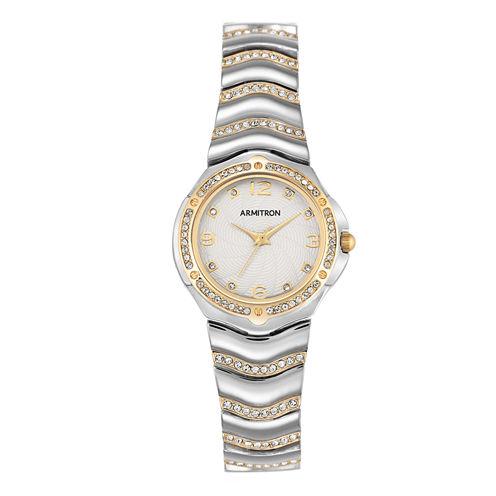 Armitron® Womens White Two-Tone Bracelet Watch