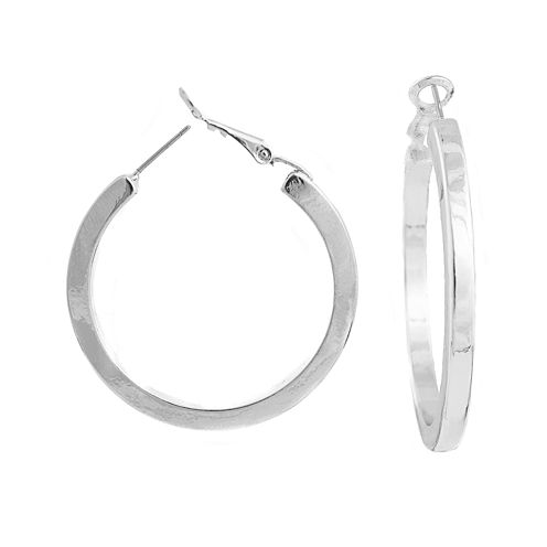 a.n.a® Silver-Tone Thick Hoop Earrings