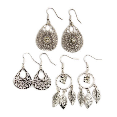 jcpenney.com | Arizona Openwork Teardrop Stone 3-pr. Earring Set